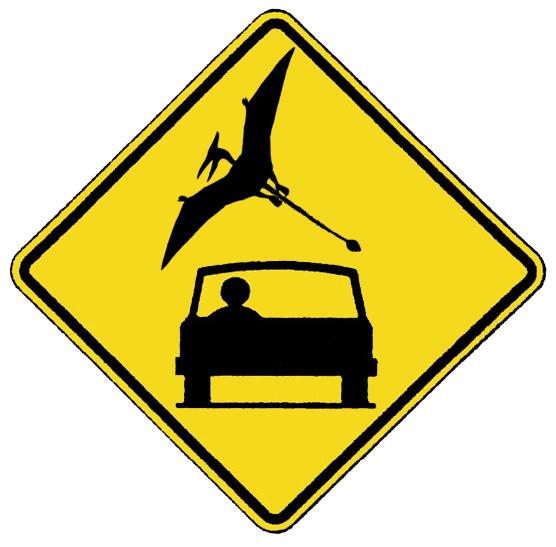panneau routier pterodactyle