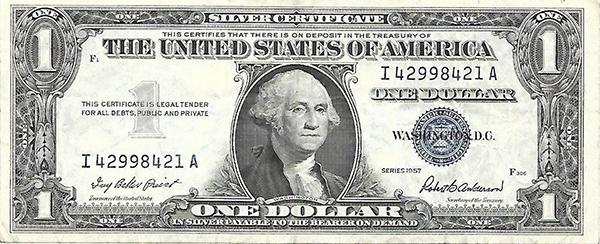 one dollar 1957